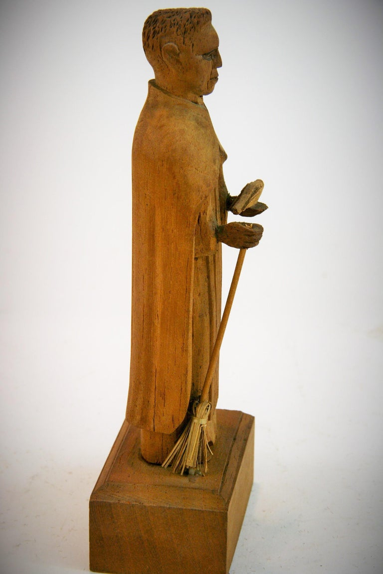 Folk Art Hand Carved Wood Friar Santos with Dove For Sale 1