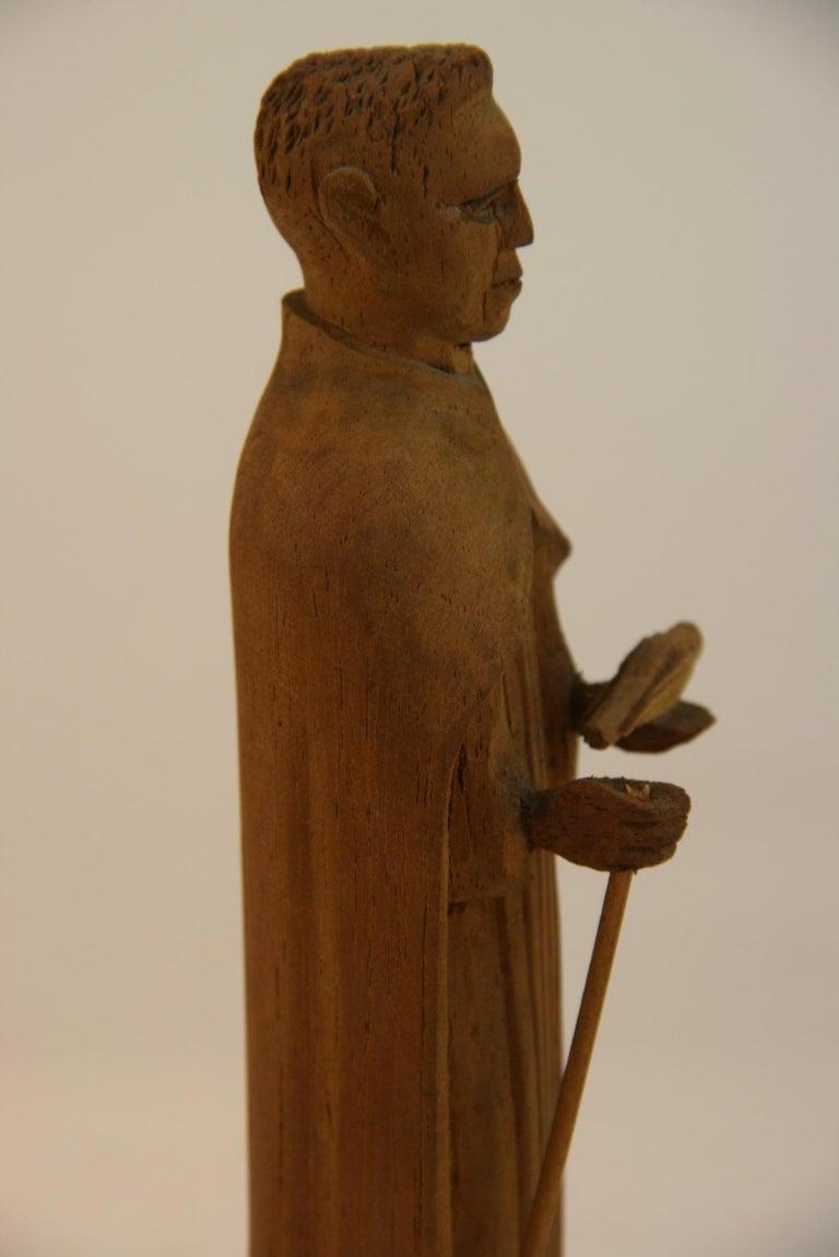 Folk Art Hand Carved Wood Friar Santos with Dove For Sale 2