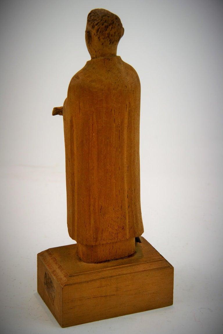 Folk Art Hand Carved Wood Friar Santos with Dove For Sale 4