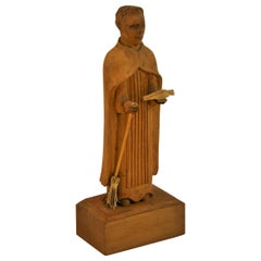 Folk Art Hand Carved Wood Friar Santos with Dove