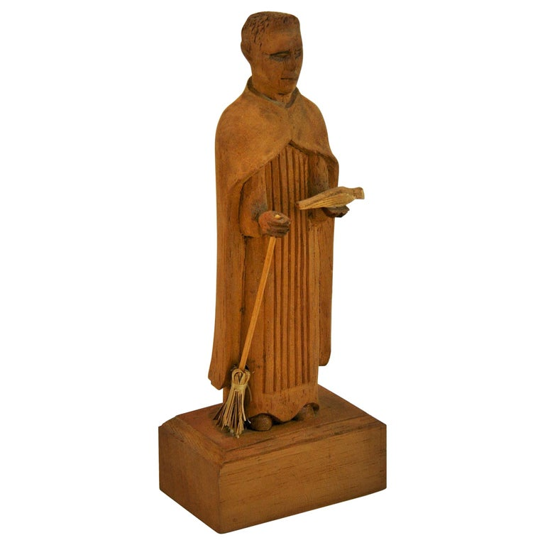 Folk Art Hand Carved Wood Friar Santos with Dove For Sale
