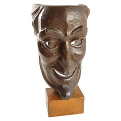 Hand Carved Wood Grotesque Mask Signed Sculpture