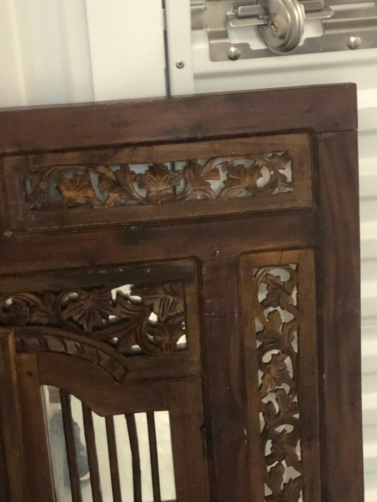 Moorish Hand Carved Wood Indian Wall Mirror  For Sale