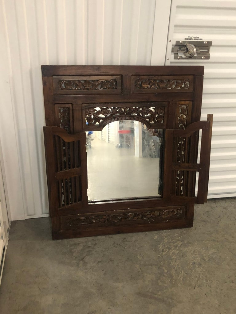 Hand Carved Wood Indian Wall Mirror  In Good Condition For Sale In Oakland Park, FL