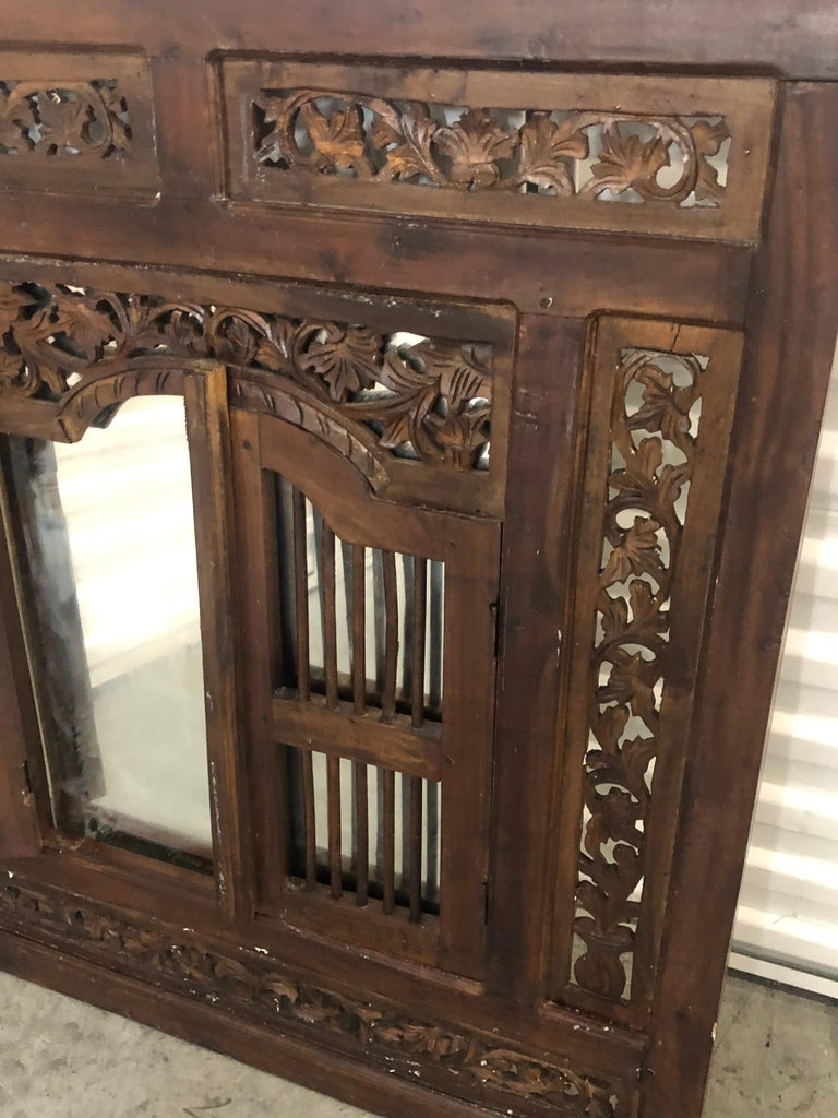 Hand Carved Wood Indian Wall Mirror  For Sale 1
