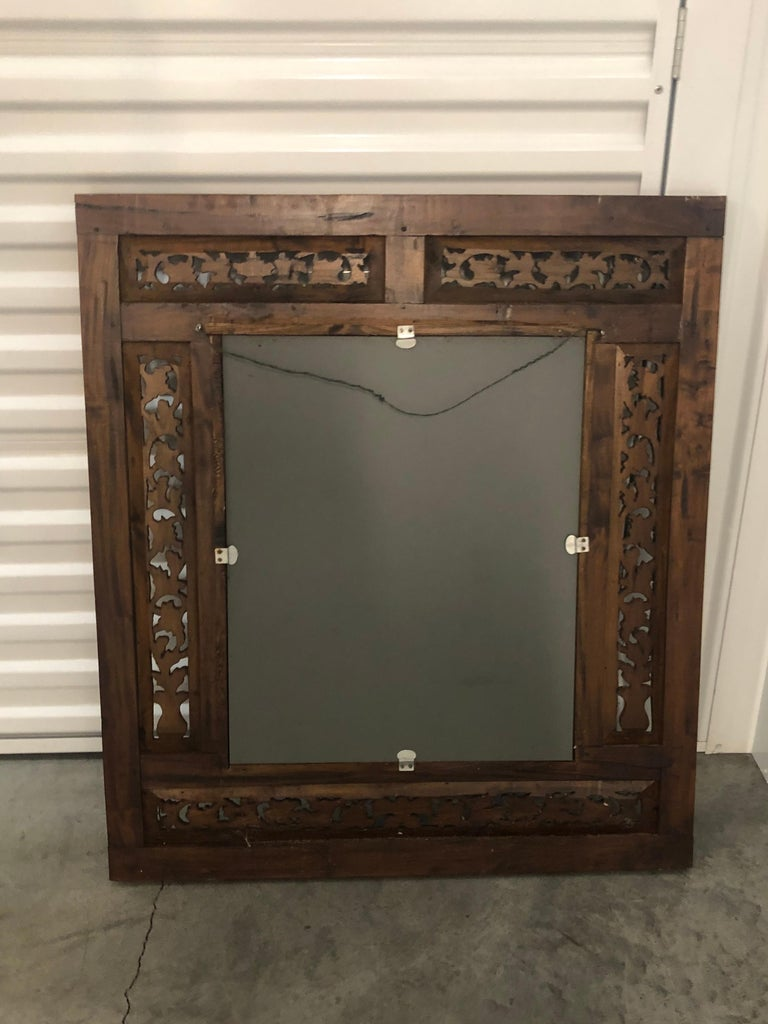 Hand Carved Wood Indian Wall Mirror  For Sale 2