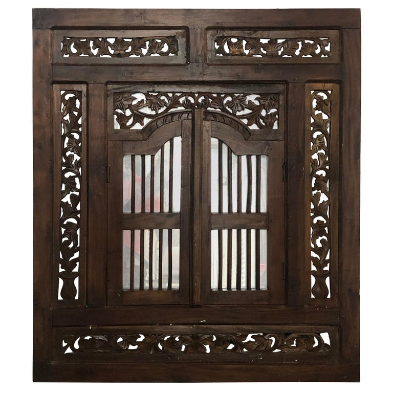 Hand Carved Wood Indian Wall Mirror  For Sale