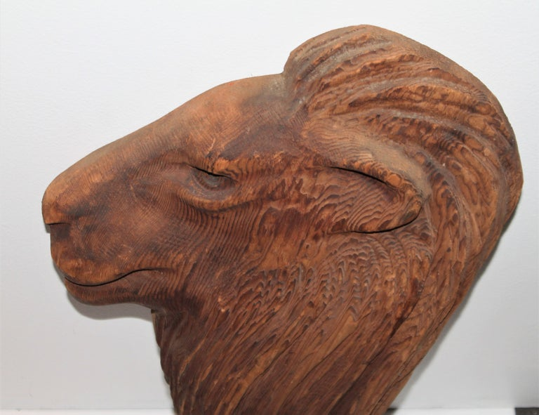 American Hand Carved Wood Lion Head For Sale