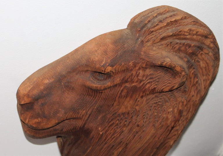 Hand-Carved Hand Carved Wood Lion Head For Sale