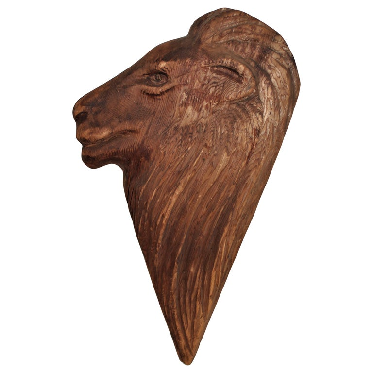Hand Carved Wood Lion Head For Sale