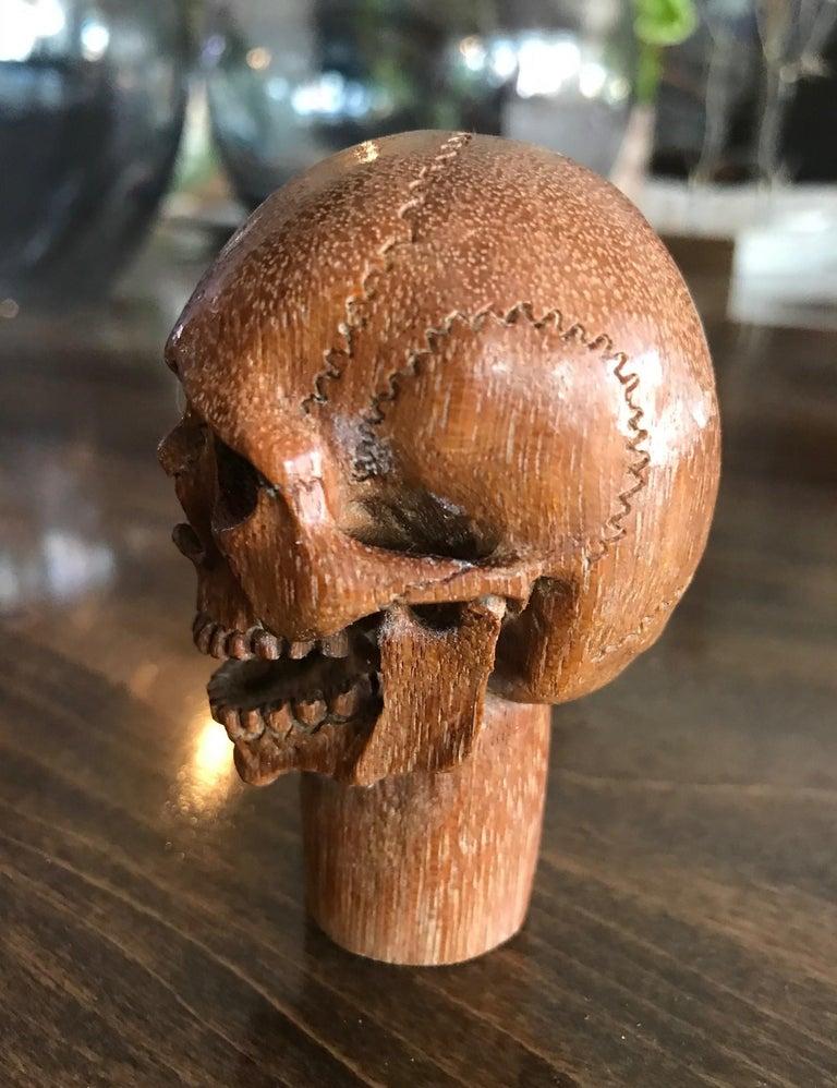 Hand-Carved Hand Carved Wood Memento Mori Skull Cane Walking Stick Handle For Sale