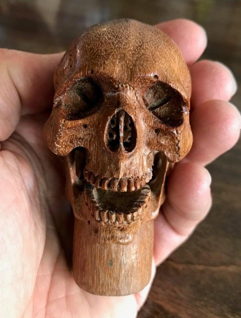Hand Carved Wood Memento Mori Skull Cane Walking Stick Handle For Sale 1