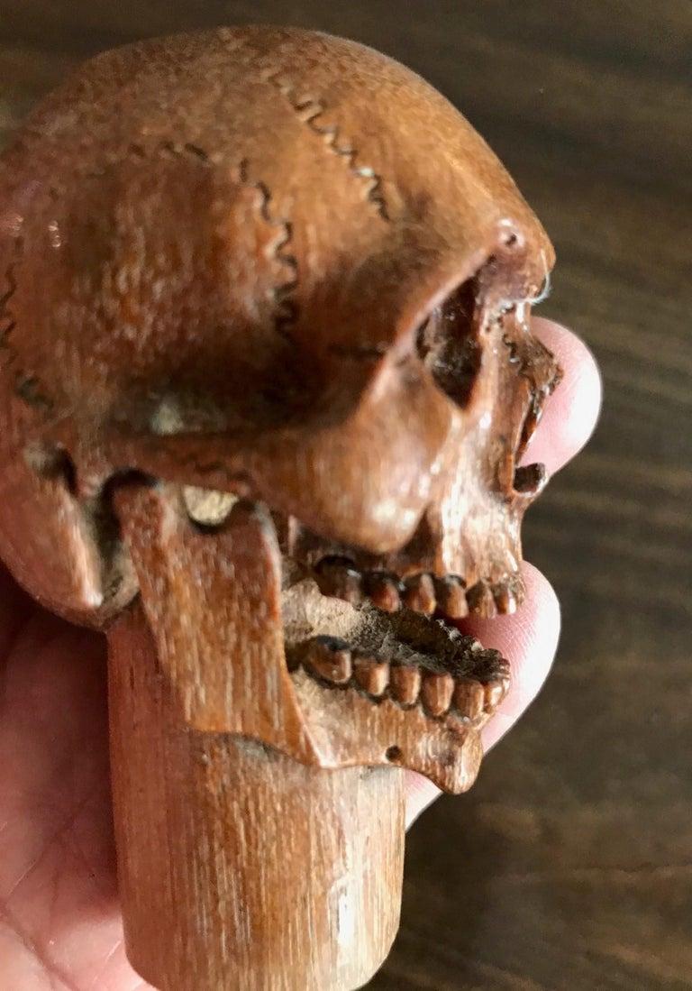 Hand Carved Wood Memento Mori Skull Cane Walking Stick Handle For Sale 3