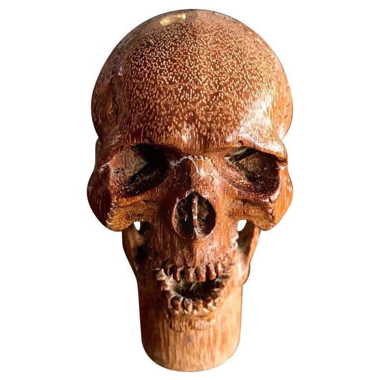 Hand Carved Wood Memento Mori Skull Cane Walking Stick Handle For Sale