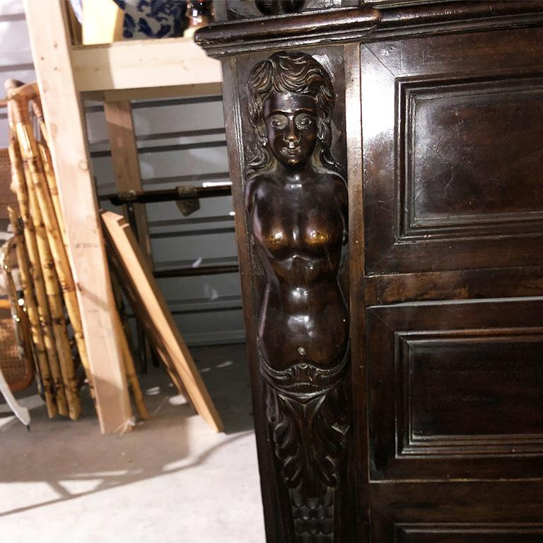 Hand Carved Wood Mermaid 4 Drawer Commode or Chest France 17th Century For Sale 7