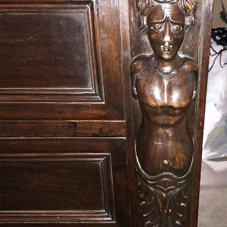 Hand Carved Wood Mermaid 4 Drawer Commode or Chest France 17th Century For Sale 8