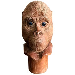 Hand Carved Wood Monkey Cane Walking Stick Handle with Piercing Blue Eyes
