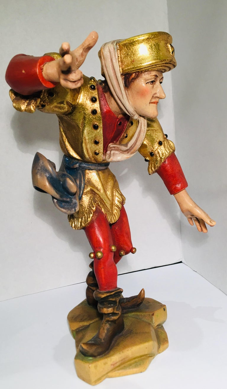 Hand Carved Wood Oswald Demetz Deur Morisco Dancer Insolent Italian Figurine For Sale 4