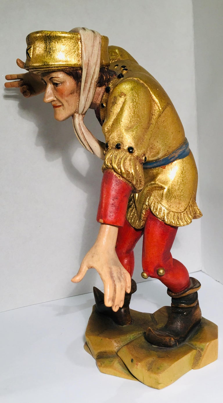 Hand-Carved Hand Carved Wood Oswald Demetz Deur Morisco Dancer Insolent Italian Figurine For Sale