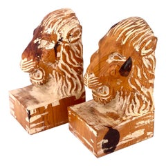 Hand Carved Wood Pair of Bookends Lions Heads by Sarreid Spain