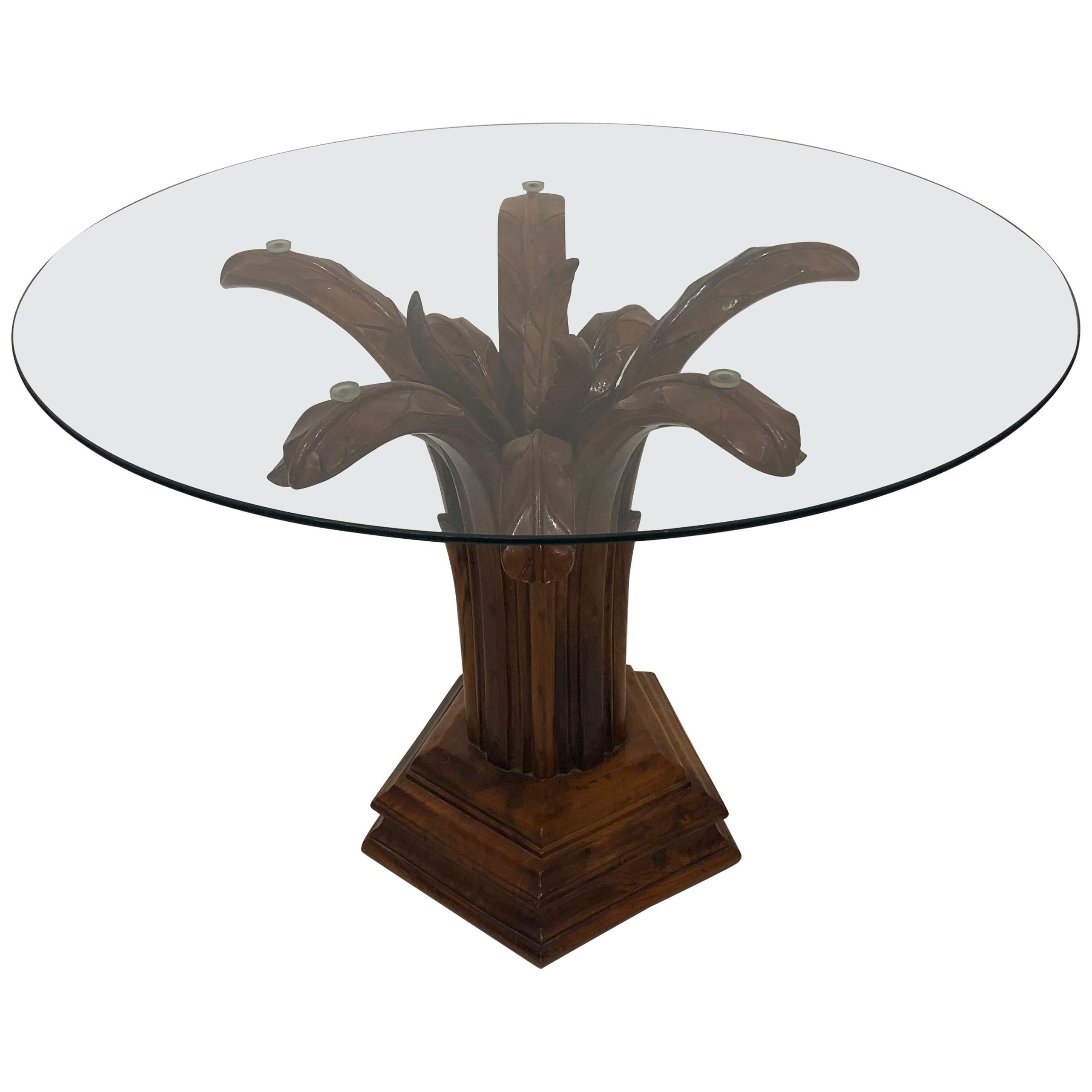 Hand Carved Wood Palm Tree Side Table Gl Top Midcentury Coffee