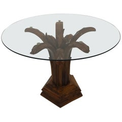 Hand Carved Wood Palm Tree Side Table Glass Top Midcentury Coffee