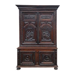 Hand Carved Wood Renaissance Period Armoire a Deux Corps or Buffet, 1600s France