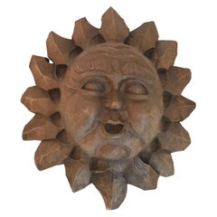 Hand Carved Wood Sun Sculpture