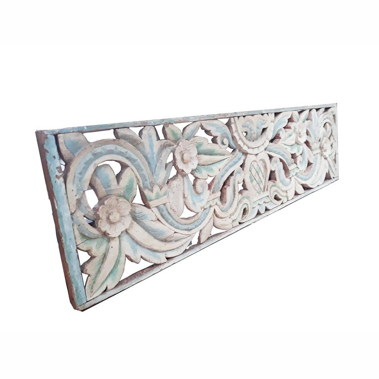Dutch Colonial Hand Carved Wood Wall Panel from Indonesia For Sale
