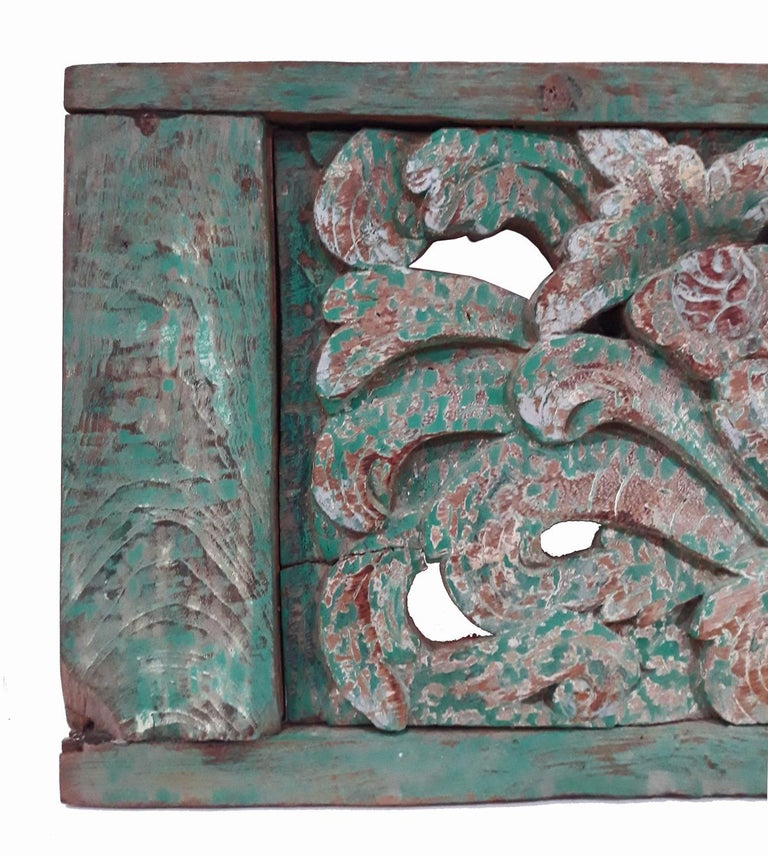 Indonesian Hand Carved Wood Wall Panel from Indonesia For Sale