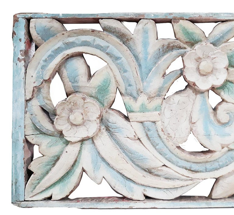 Hand-Carved Hand Carved Wood Wall Panel from Indonesia For Sale