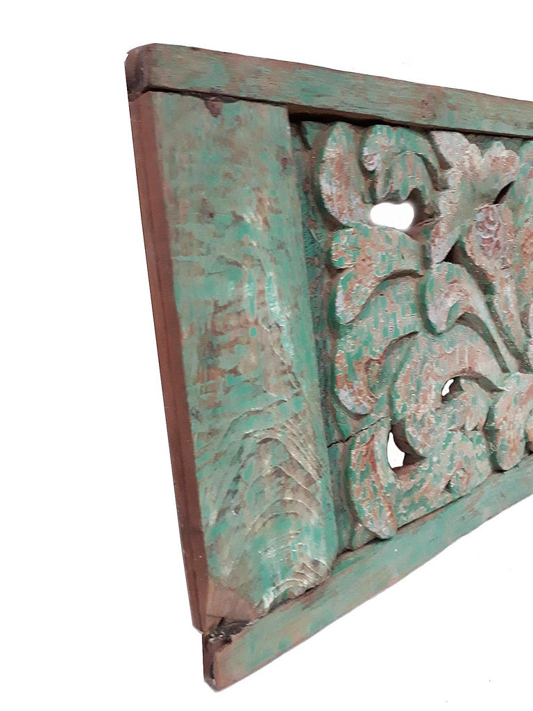 Hand Carved Wood Wall Panel from Indonesia In Good Condition For Sale In New York, NY