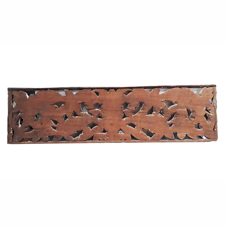 Early 20th Century Hand Carved Wood Wall Panel from Indonesia For Sale