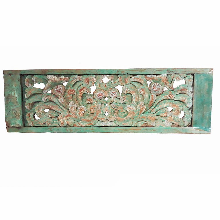 Hand Carved Wood Wall Panel from Indonesia For Sale 1