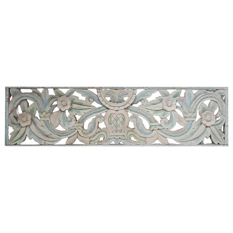 Hand Carved Wood Wall Panel from Indonesia For Sale