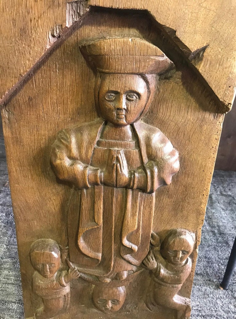 A wonderful, well carved, heavy work depicting religious figures. Perhaps featured in a church or temple at one time.   We are listing as 19th century but could be older.  Dimensions: 25.5