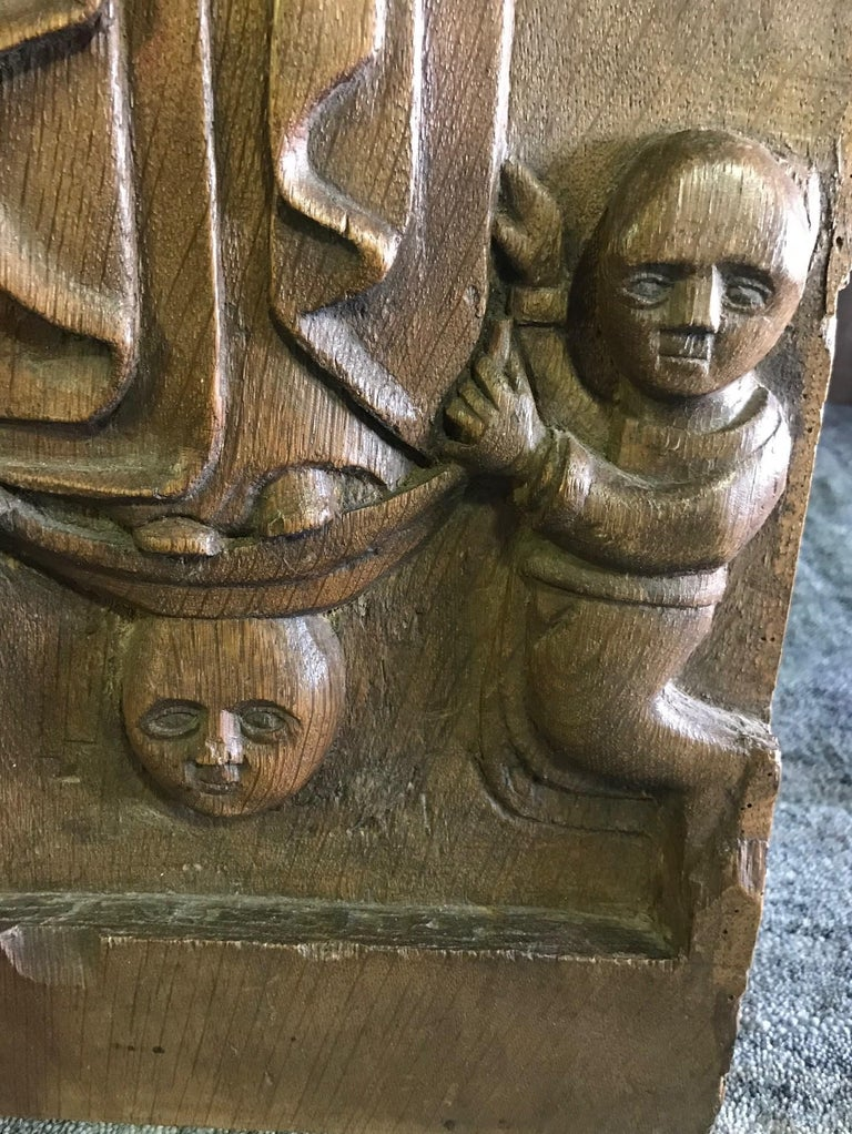 Hand Carved Wood Wall Relief Plaque Panel of Religious Figures, 19th Century In Good Condition For Sale In Studio City, CA