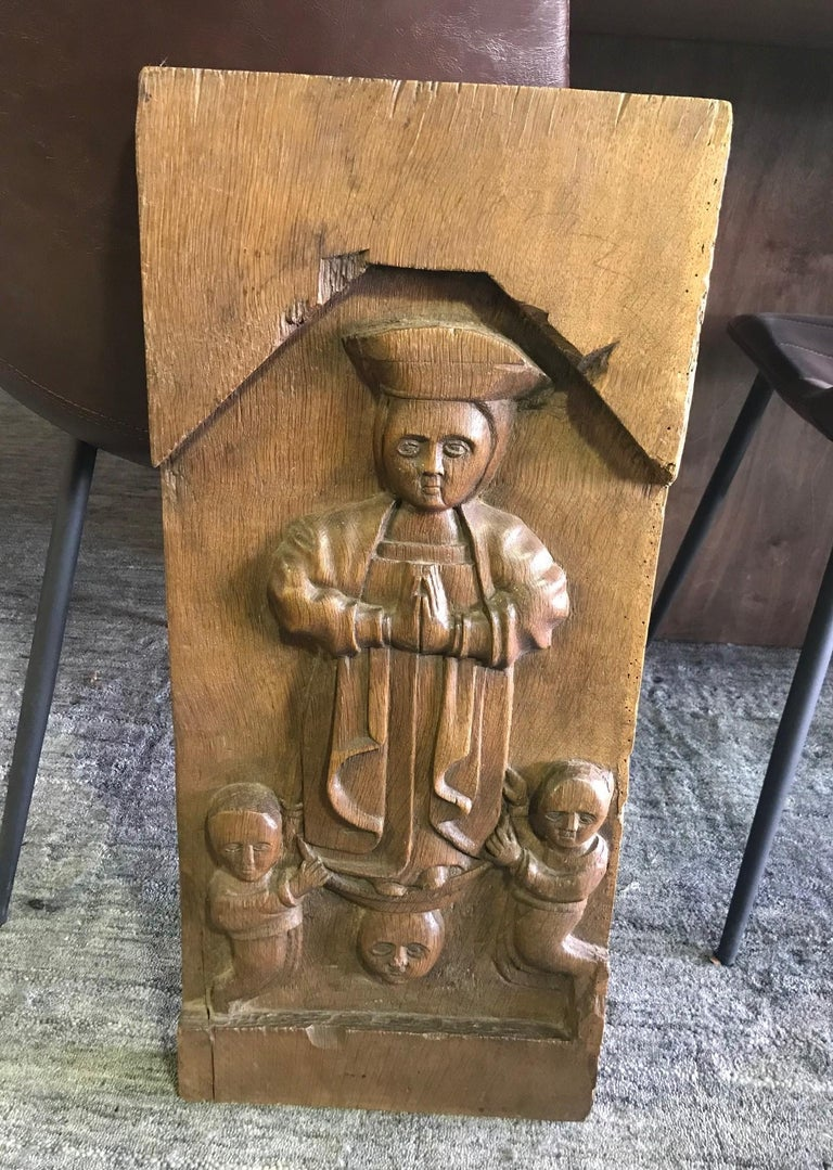 Hand Carved Wood Wall Relief Plaque Panel of Religious Figures, 19th Century For Sale 3