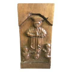Hand Carved Wood Wall Relief Plaque Panel of Religious Figures, 19th Century