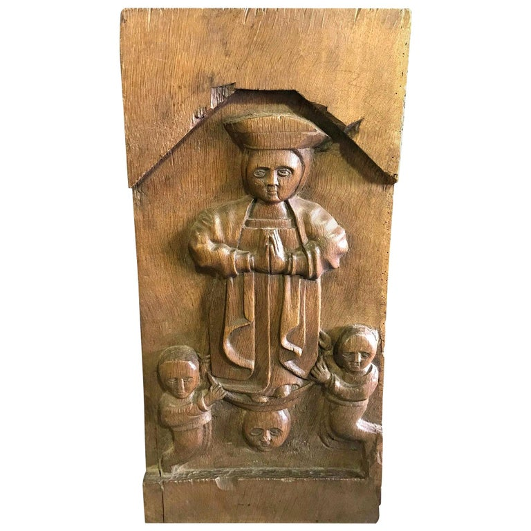 Hand Carved Wood Wall Relief Plaque Panel of Religious Figures, 19th Century For Sale