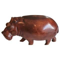 Hand Carved Wooden African Hippopotamus Sculpture