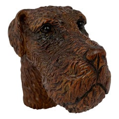 Hand Carved Wooden Airedale Terrier Cane Handle