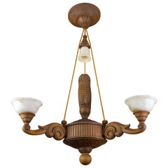Hand Carved Wooden and Alabaster Four-Light Chandelier with Owl Figure, Germany