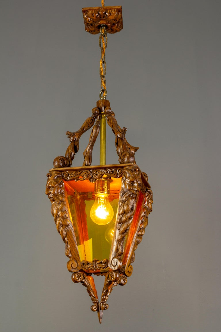 Arts and Crafts Hand Carved Wooden and Yellow Glass One-Light Lantern For Sale