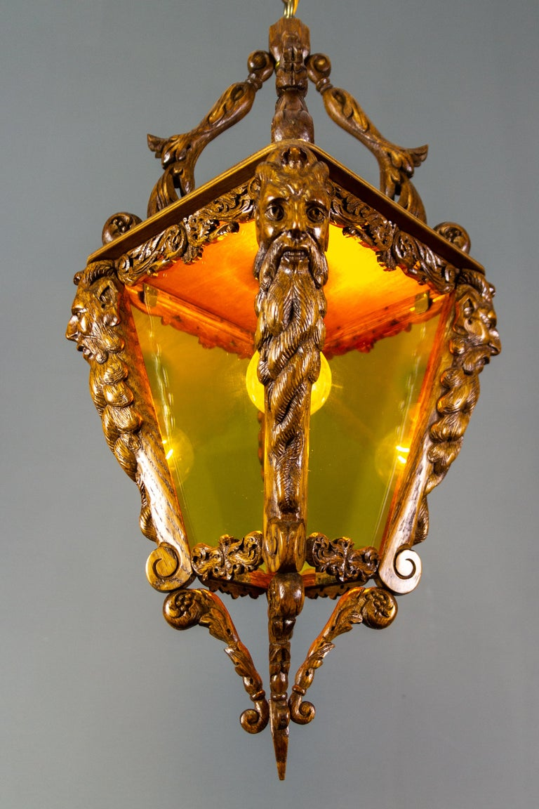 Belgian Hand Carved Wooden and Yellow Glass One-Light Lantern For Sale