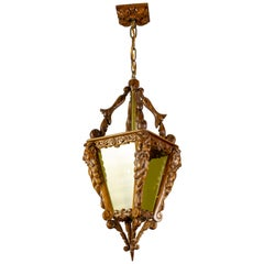 Hand Carved Wooden and Yellow Glass One-Light Lantern