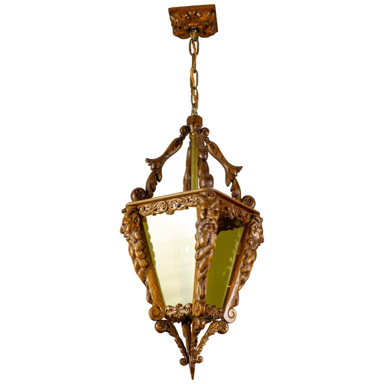 Hand Carved Wooden and Yellow Glass One-Light Lantern For Sale