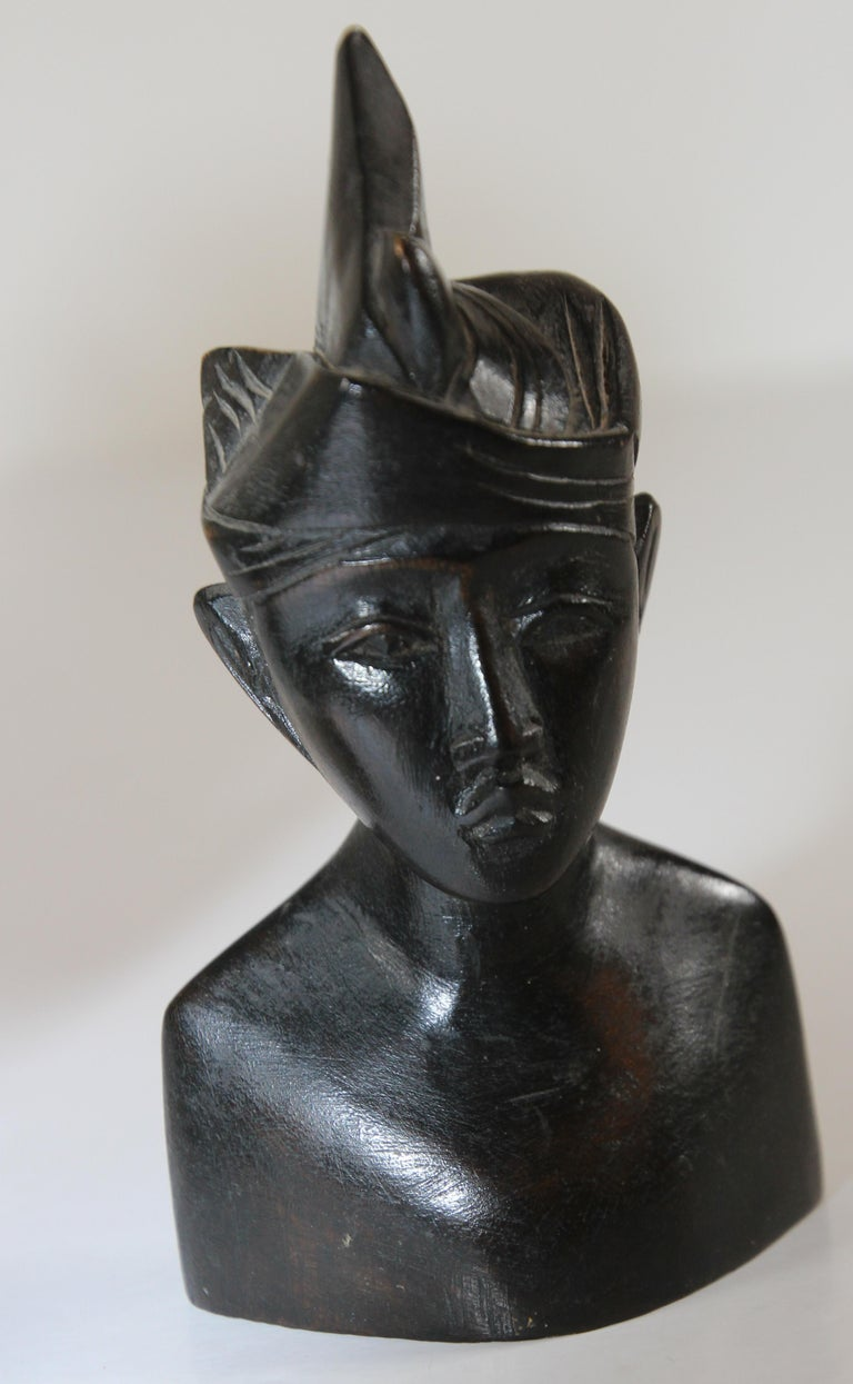 Hand Carved Wooden Balinese Busts Sculptures For Sale 4