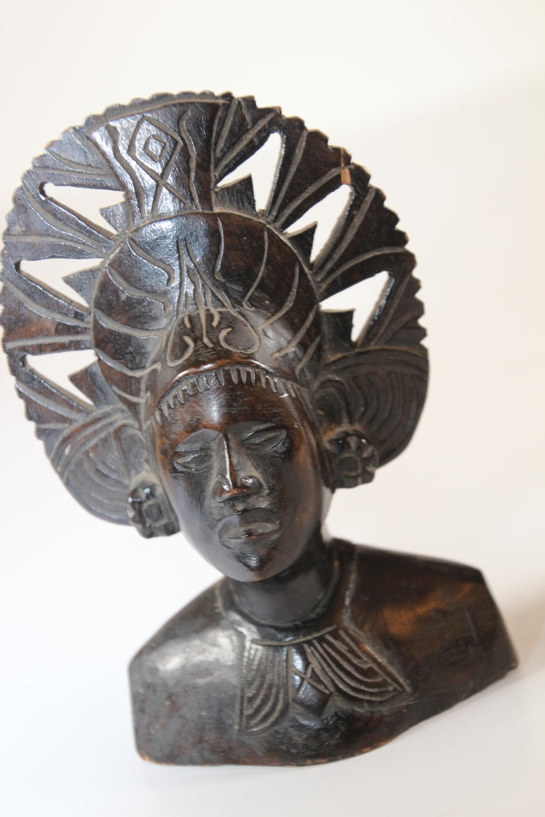 Hand Carved Wooden Balinese Busts Sculptures For Sale 6