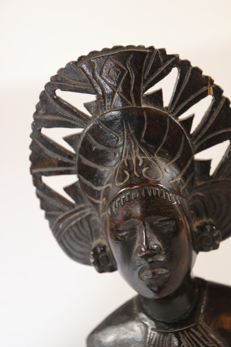 Hand Carved Wooden Balinese Busts Sculptures For Sale 7